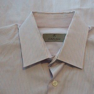 Canali 1934 Current Pink Blue Striped Spread Shirt